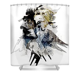 The Birdman Shower Curtain by Aniko Hencz