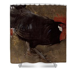 The Black Cock Shower Curtain by Joseph Crawhall