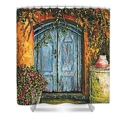 The Blue Door Shower Curtain by Darice Machel McGuire