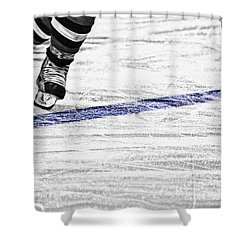 The Blue Line Shower Curtain by Karol Livote