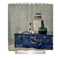 The Blue Suitcase Shower Curtain by Priska Wettstein