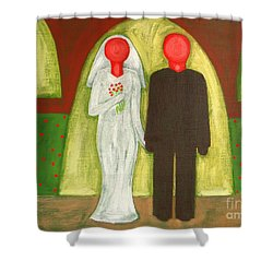 The Blushing Bride And Groom Shower Curtain by Patrick J Murphy