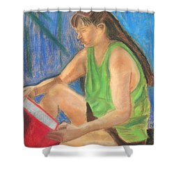 The Book Worm Shower Curtain by Cori Solomon