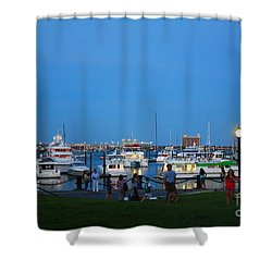 The Boston Wharf In The Early Evening Shower Curtain by Dora Sofia Caputo Photographic Art and Design