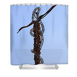 The Bronze Brazen Serpent Sculpture At Mount Nebo Jordan Shower Curtain by Robert Preston