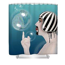 the Bubble man Shower Curtain by Mark Ashkenazi