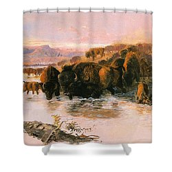 The Buffalo Herd Shower Curtain by Charles Russell