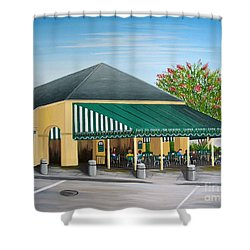 The Cafe Shower Curtain by Valerie Carpenter