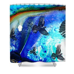 The Calling - Raven Crow Art By Sharon Cummings Shower Curtain by Sharon Cummings