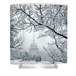 The Capitol In Snow Shower Curtain by Joe  Connors