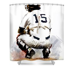 The Captain  Thurman Munson Shower Curtain by Iconic Images Art Gallery David Pucciarelli