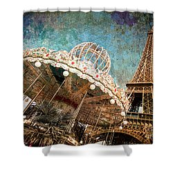 The Carrousel Of The Eiffel Tower Shower Curtain by Delphimages Photo Creations