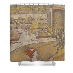 The Circus Shower Curtain by Georges Pierre Seurat