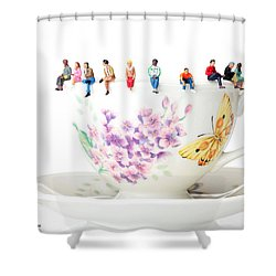 The Coffee Time Little People On Food Shower Curtain by Paul Ge