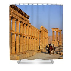 The Colonnaded Street Palmyra Syria Shower Curtain by Robert Preston