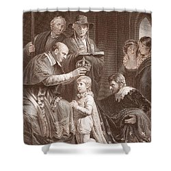 The Coronation Of Henry Vi, Engraved Shower Curtain by John Opie