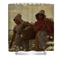 The Cotton Pickers Shower Curtain by Winslow Homer
