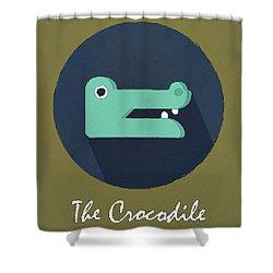 The Crocodile Cute Portrait Shower Curtain by Florian Rodarte