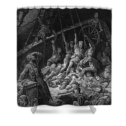 The Dead Sailors Rise Up And Start To Work The Ropes Of The Ship So That It Begins To Move Shower Curtain by Gustave Dore