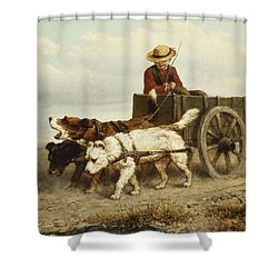 The Dog Cart Shower Curtain by Henriette Ronner-Knip