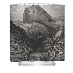 The Dove Sent Forth From The Ark Shower Curtain by Gustave Dore