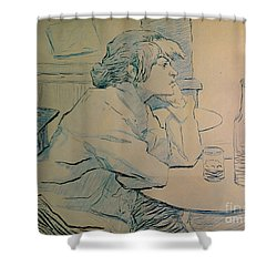 The Drinker Or An Hangover Shower Curtain by Henri de Toulouse-lautrec