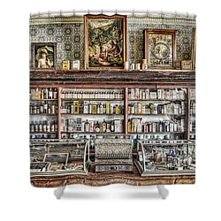 The Drug Store Counter Shower Curtain by Ken Smith