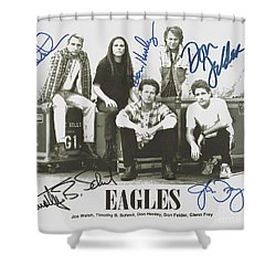 The Eagles Autographed Shower Curtain by Desiderata Gallery