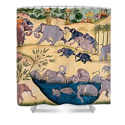 The Elephant Hunt Shower Curtain by Indian School
