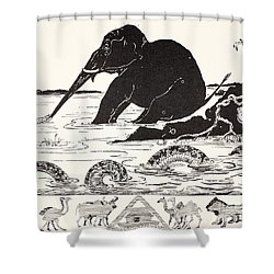 The Elephant's Child Having His Nose Pulled By The Crocodile Shower Curtain by Joseph Rudyard Kipling