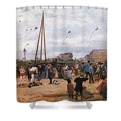 The Fairgrounds At Porte De Clignancourt Paris Shower Curtain by Victor Gabriel Gilbert
