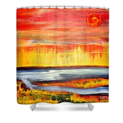 The First Handcart Is Faith Shower Curtain by Richard W Linford
