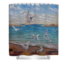 The First Inhabitants Of The New Land Shower Curtain by Elena Sokolova
