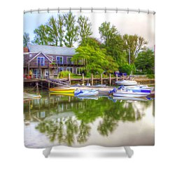 The Fishing Village Shower Curtain by Lanjee Chee