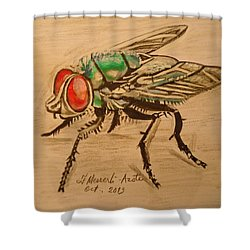 The Fly Shower Curtain by Fladelita Messerli-