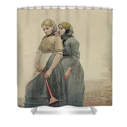 The Foghorn Shower Curtain by Winslow Homer