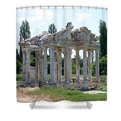The Four Roman Columns Of The Ceremonial Gateway  Shower Curtain by Tracey Harrington-Simpson