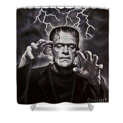 The Frankenstein Monster Shower Curtain by Dick Bobnick