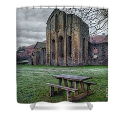 The Frosty Bench Shower Curtain by Adrian Evans