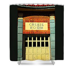 The Garage Shower Curtain by Chris Berry