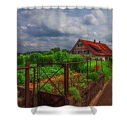 The Garden Gate Shower Curtain by Debra and Dave Vanderlaan