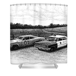 The General Lee And Barney Fife's Police Car Shower Curtain by Janet King