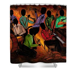 The Gitdown Hoedown Shower Curtain by Larry Martin