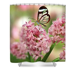 The Glasswing Shower Curtain by Morag Bates