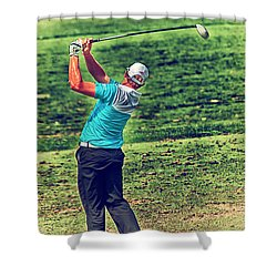 The Golf Swing Shower Curtain by Karol Livote