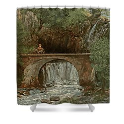 The Great Bridge, 1864 Shower Curtain by Gustave Courbet
