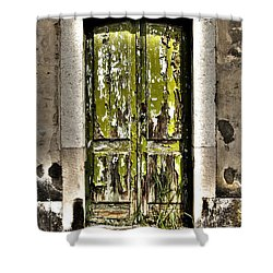 The Green Door Shower Curtain by Marco Oliveira