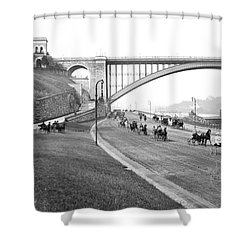 The Harlem River Speedway Shower Curtain by Detroit Publishing Company