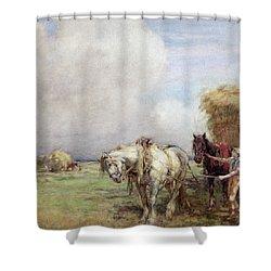 The Hay Wagon Shower Curtain by Nathaniel Hughes John Baird