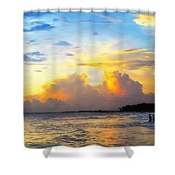 The Honeymoon - Sunset Art By Sharon Cummings Shower Curtain by Sharon Cummings